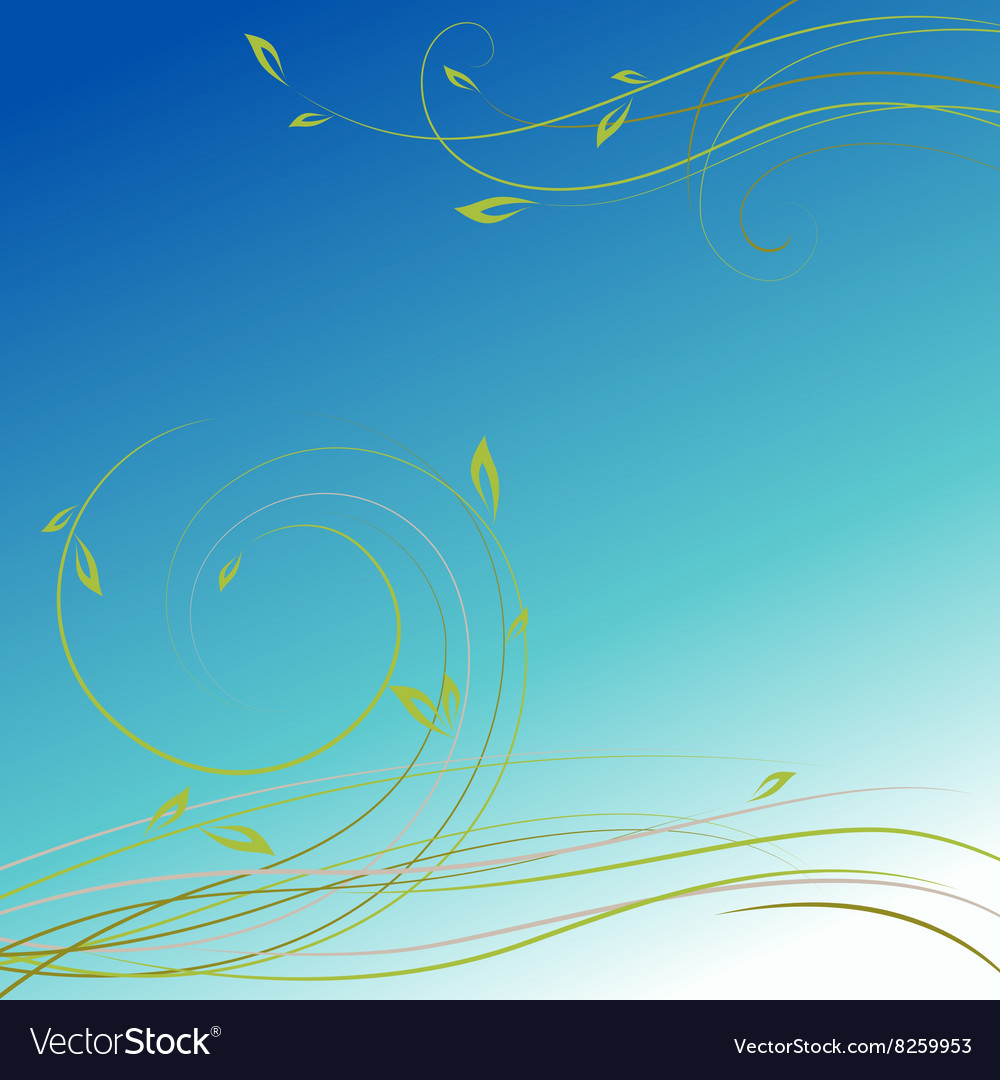 Green plant swirls in front of blue sky background vector image