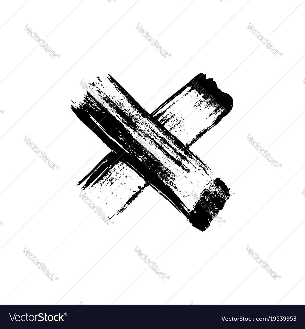 Hand drawn paint brush cross vector image