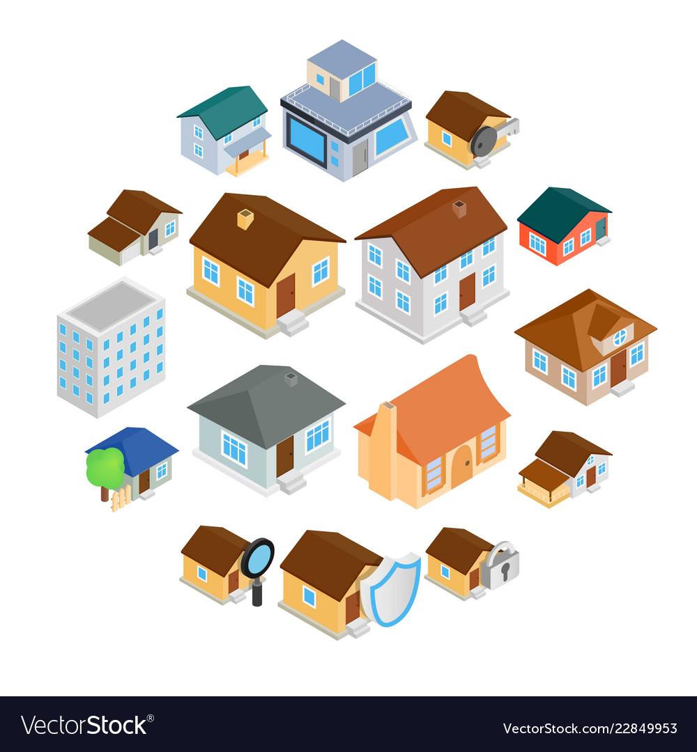 Houses isometric 3d icons set