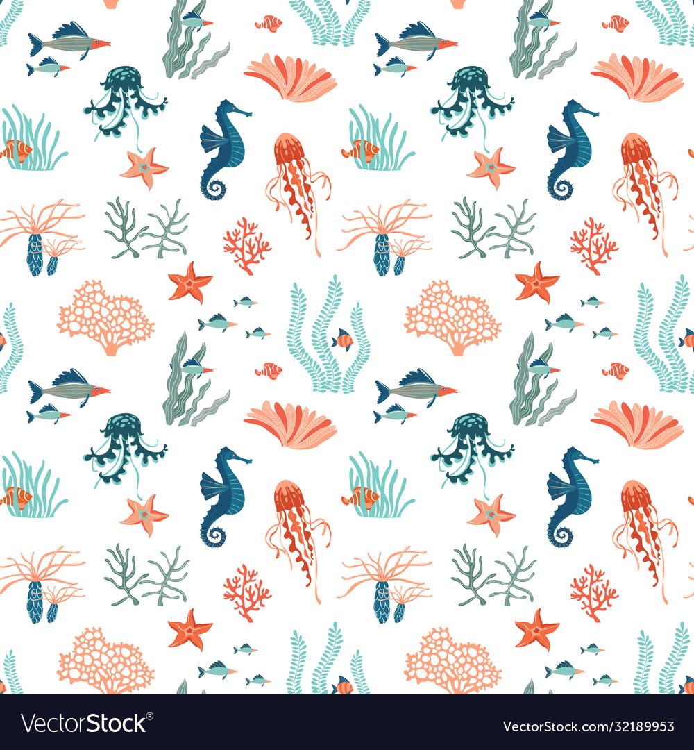 Marine life flat seamless pattern background