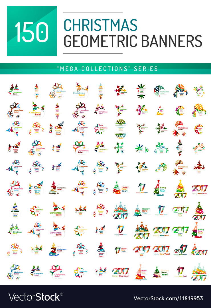 Mega collection of Christmas sale banner templates vector image
