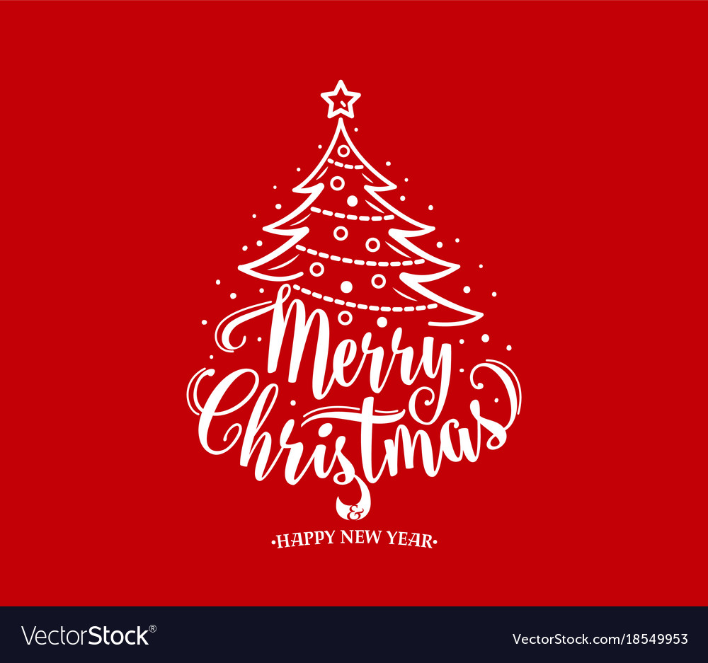 Merry christmas and happy new year text xmas tree