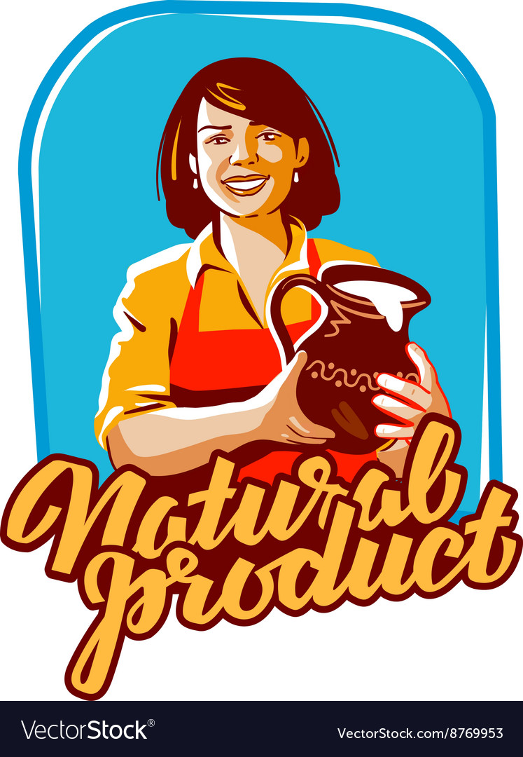 Milk logo milkmaid or farm farming icon vector image