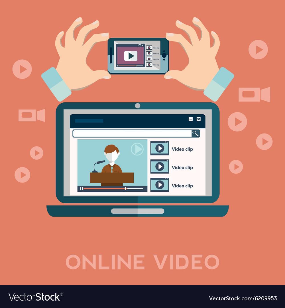Online video blog design concept set with blogger