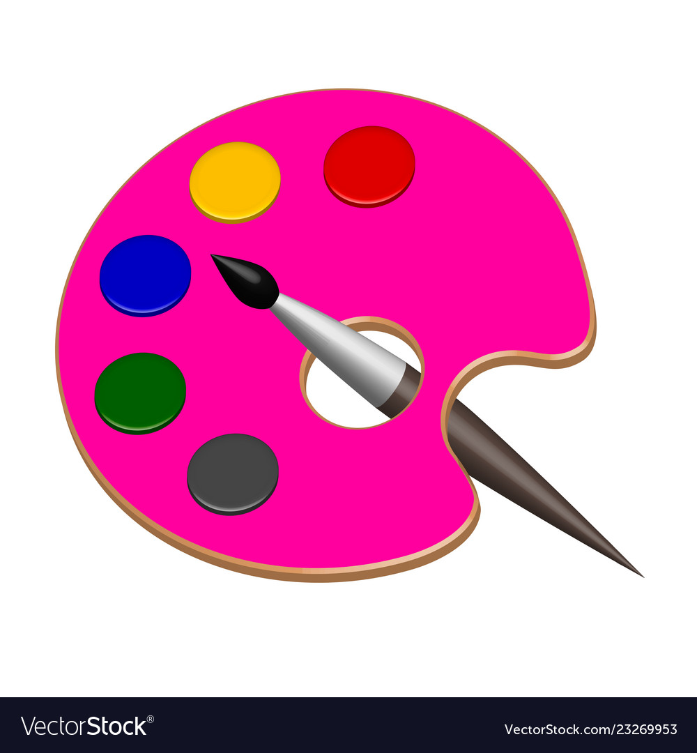 Paint color palette and brush in