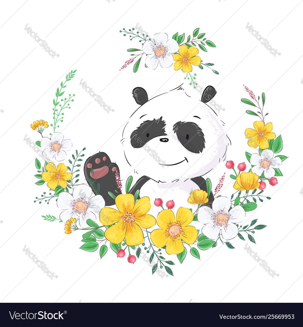 Postcard poster cute little panda in a wreath of