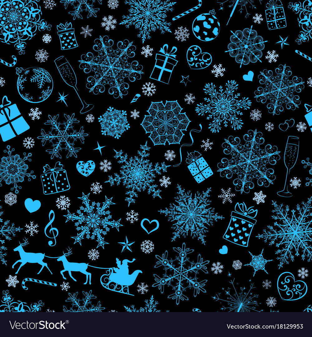 Seamless pattern of snowflakes and christmas