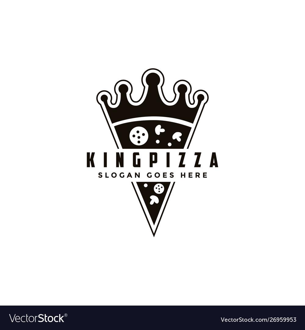 Vintage retro logo pizza and crown
