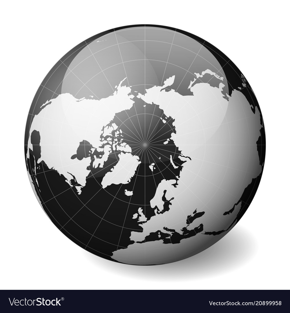 Black earth globe focused on arctica with thin