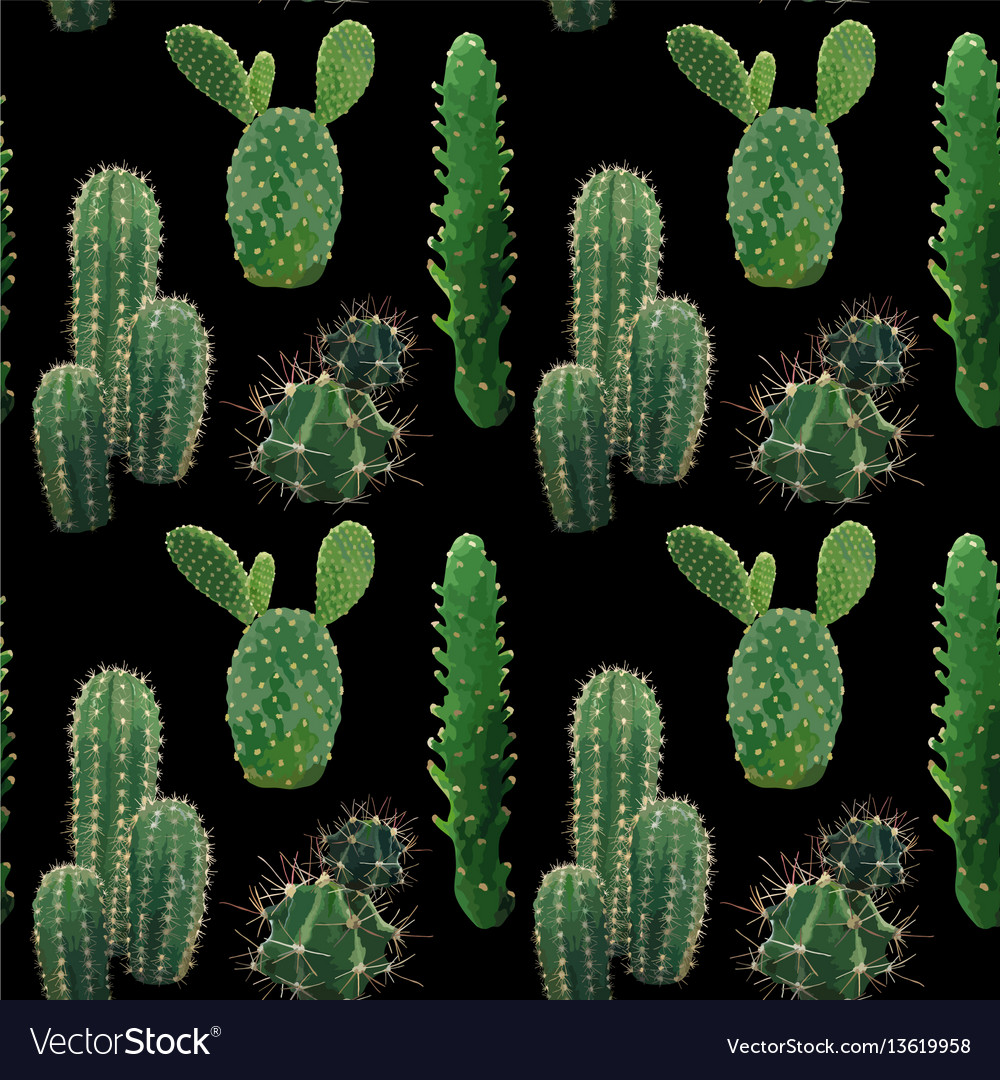 Cactus plant seamless pattern exotic tropical