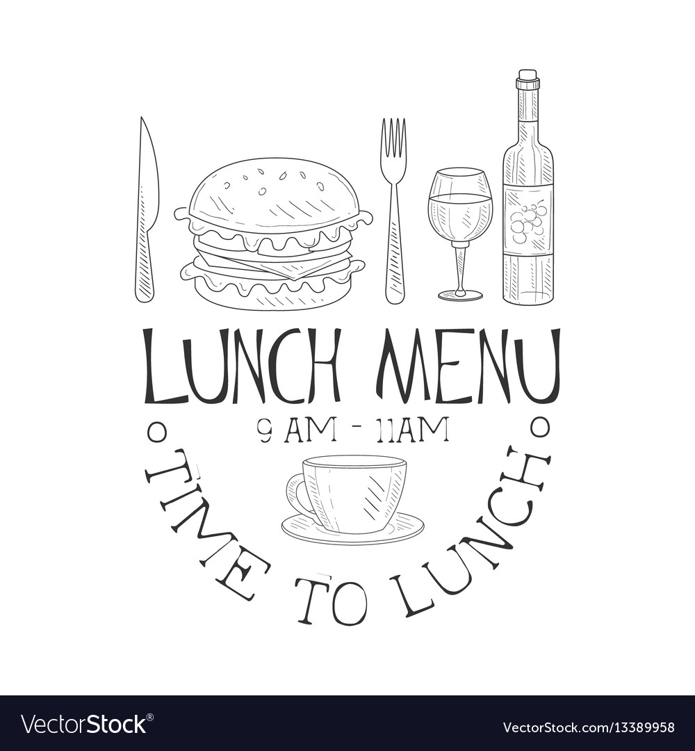 Cafe lunch menu promo sign in sketch style with
