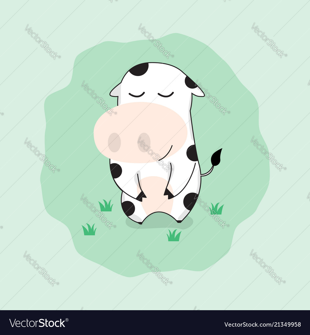 Cute cow cartoon character happy funny cow