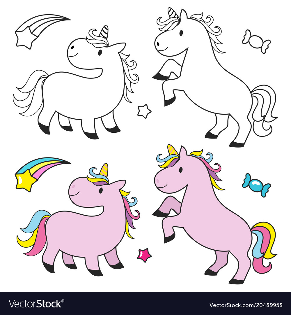 Cute Unicorn Set For Kids Coloring Book Royalty Free Vector