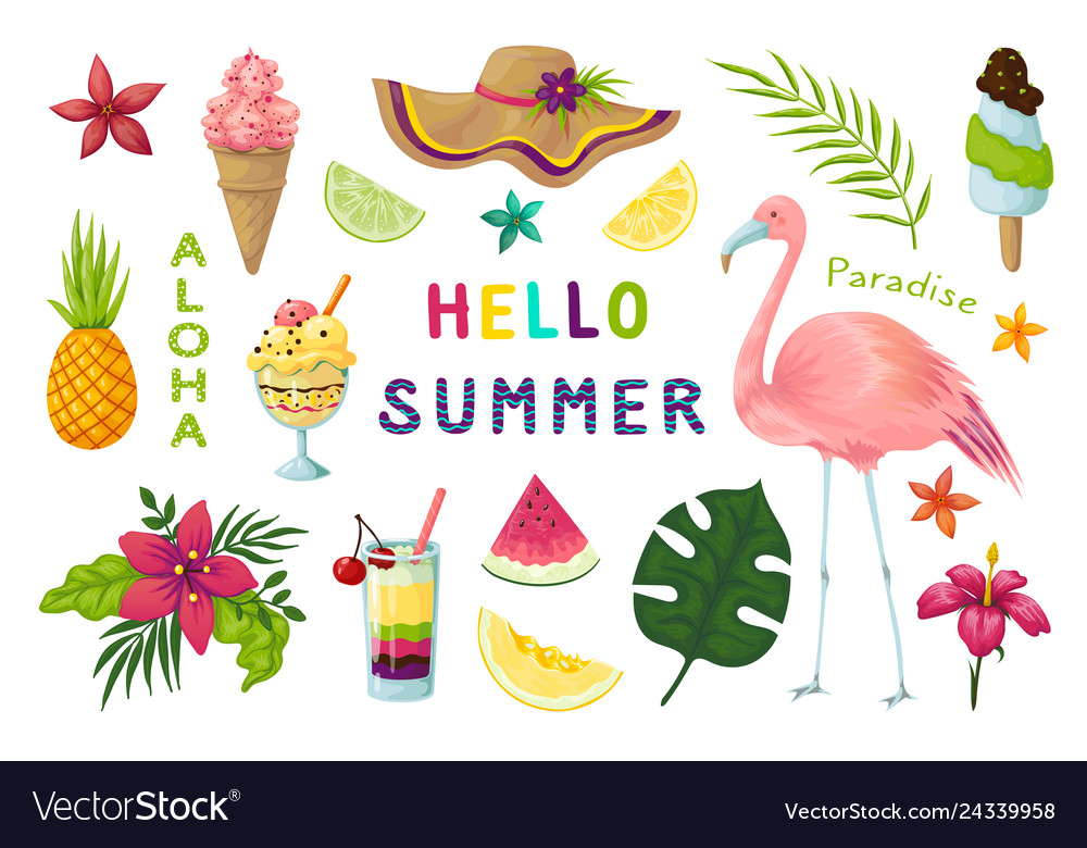 Exotic stickers cute summer tropical elements