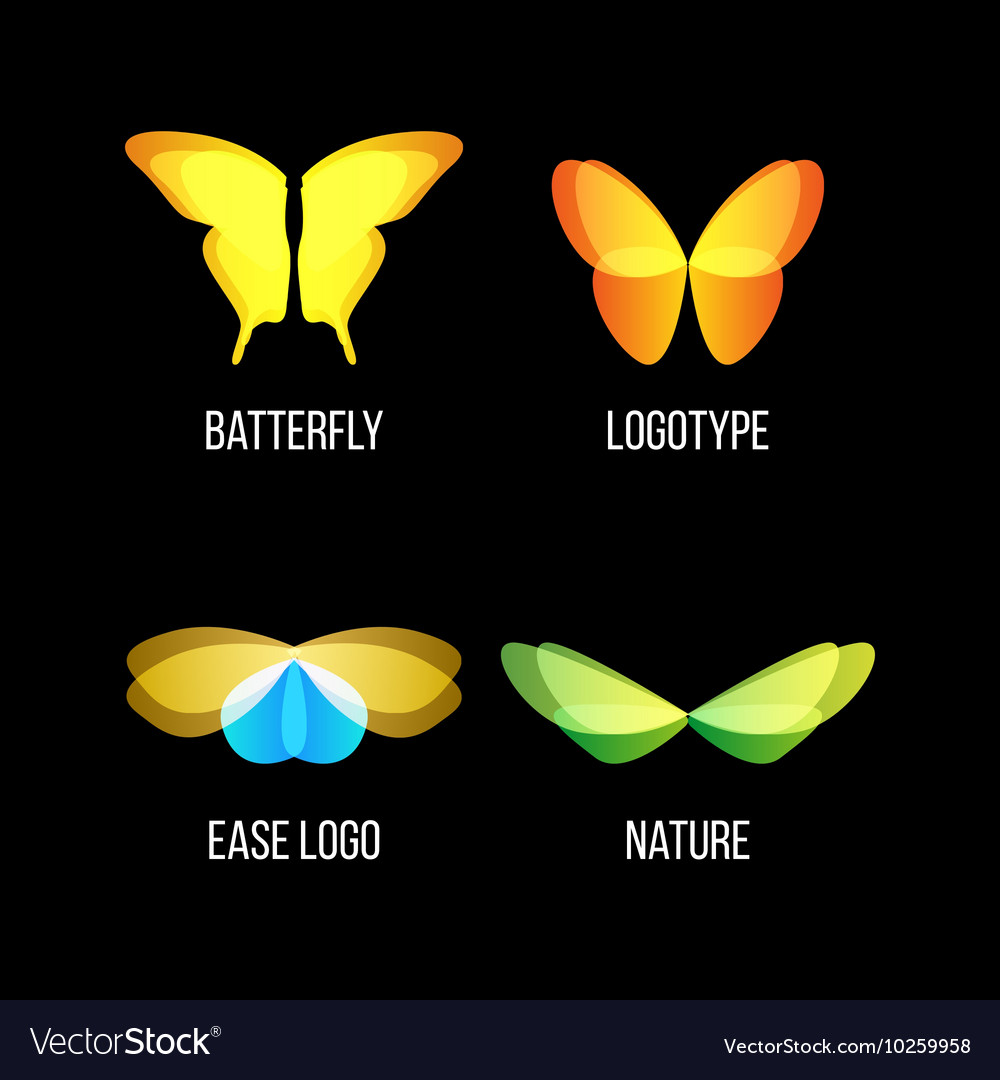 Isolated colorful butterflies logo set