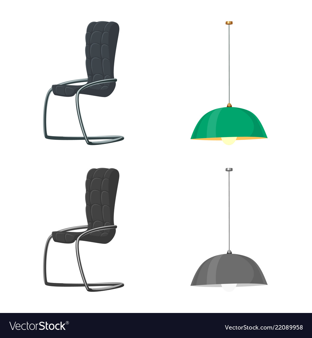 Isolated object of furniture and work icon set of