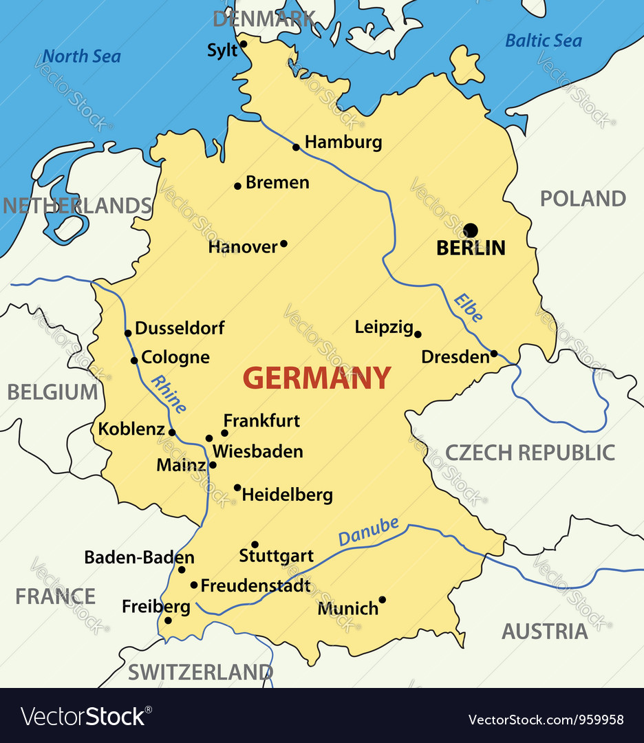 Map Of Germany Royalty Free Vector Image Vectorstock