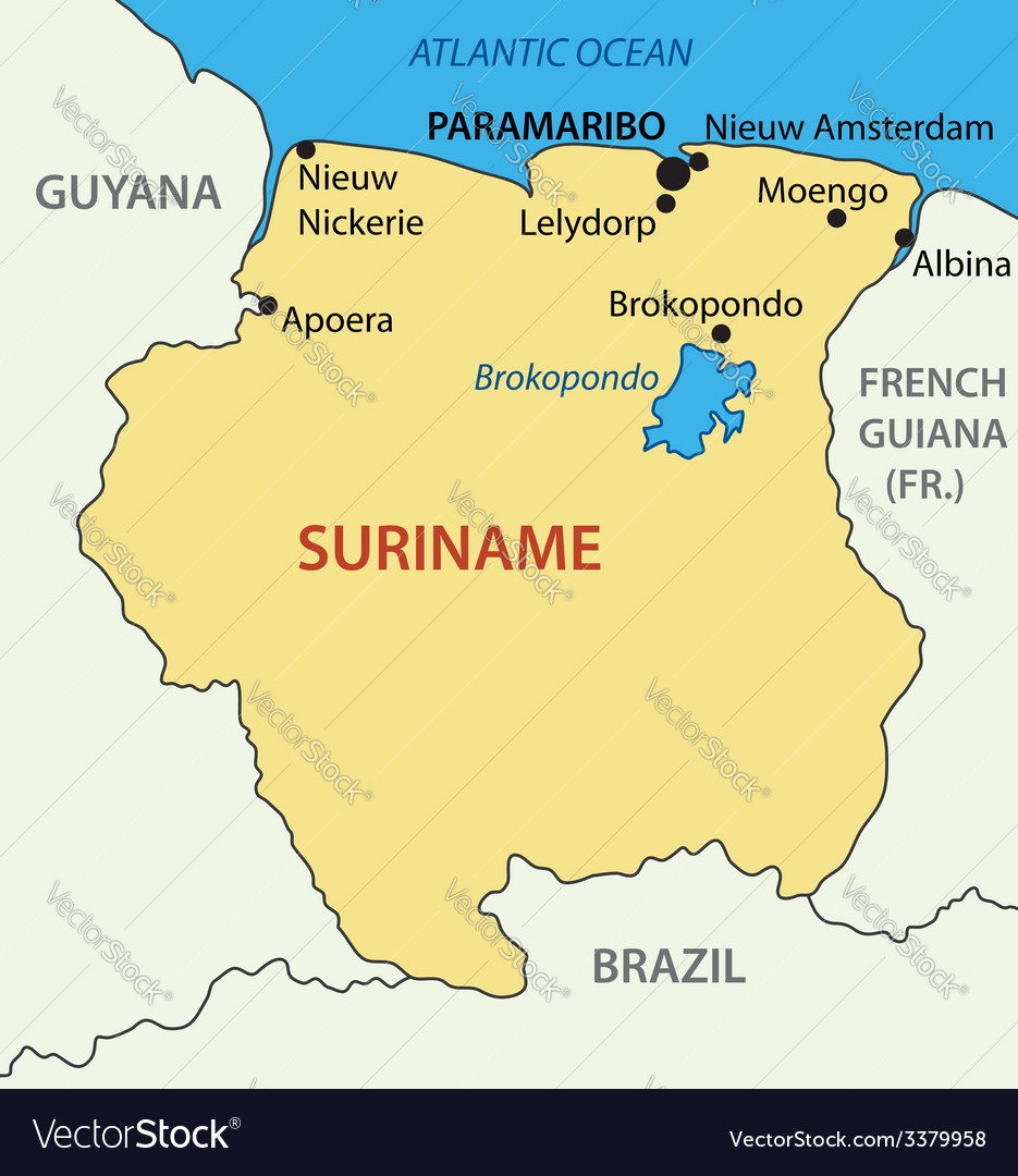 Republic Of Suriname Map Royalty Free Vector Image