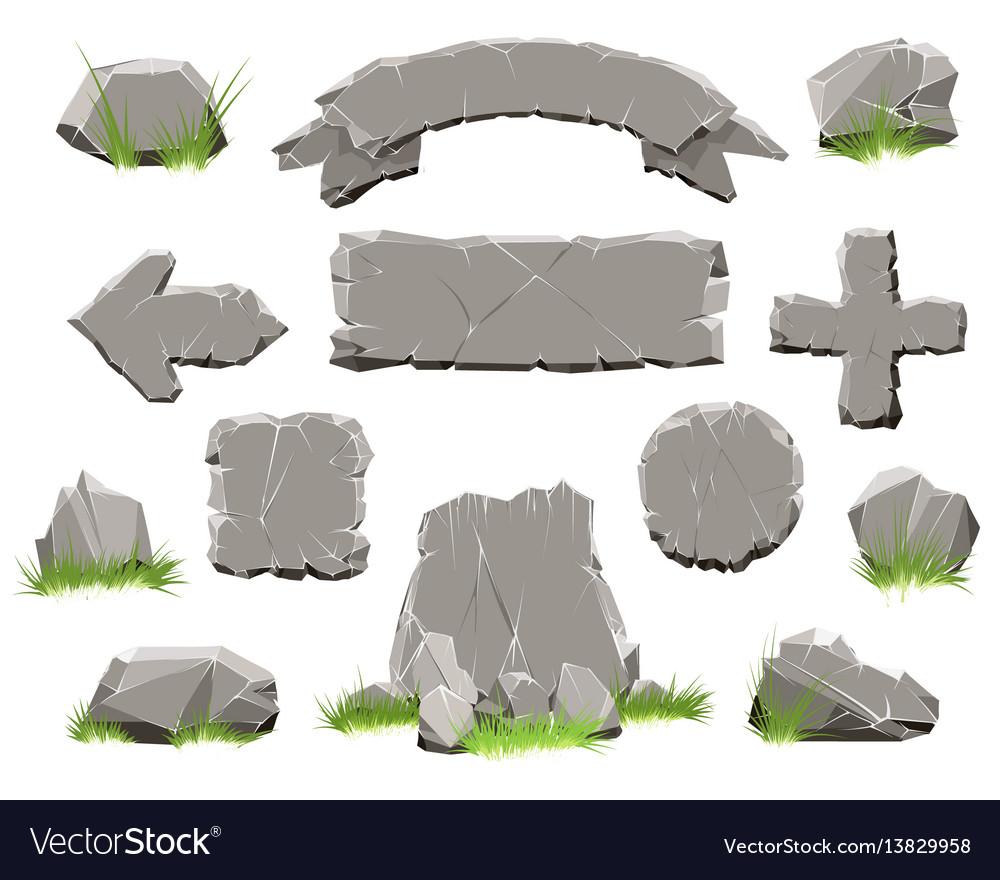 Rock circle button stone banners