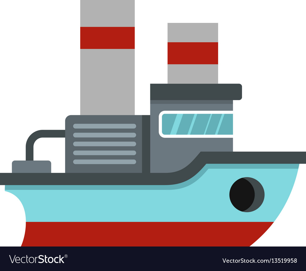 Small ship icon flat style