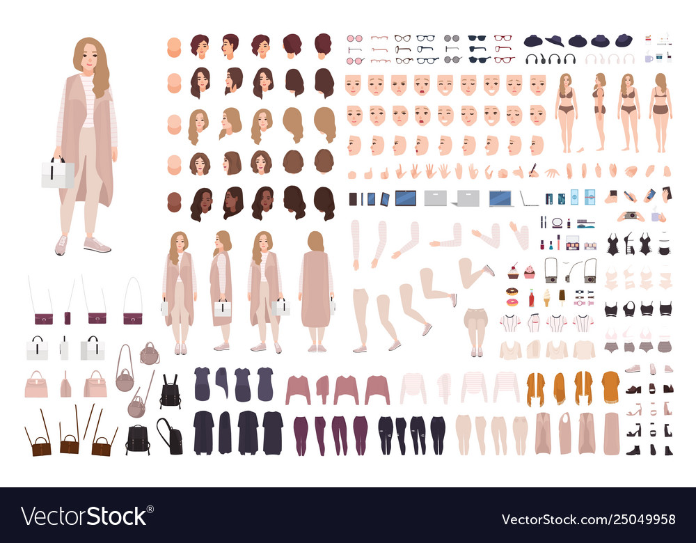 Stylish modern girl animation kit or diy set