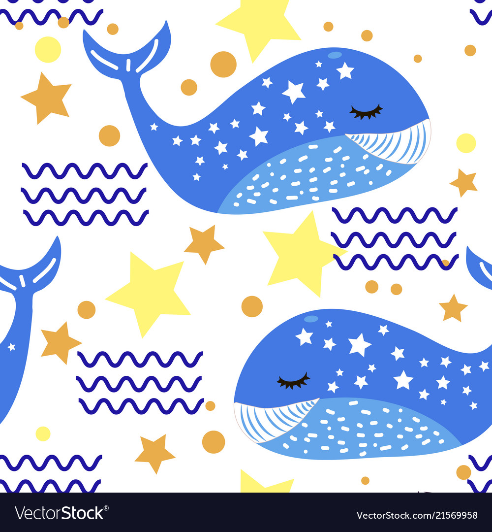 Whale funny pattern