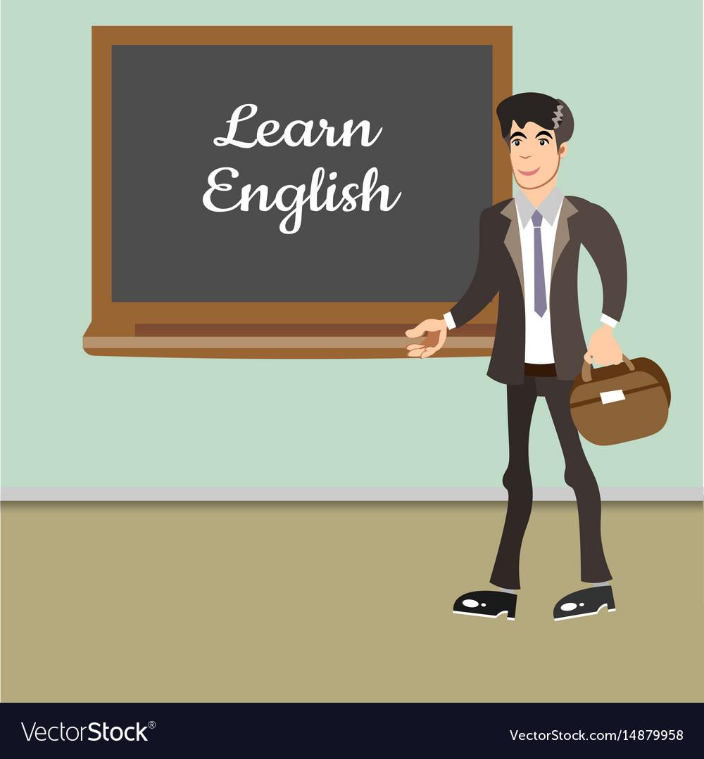 Young teacher by blackboard