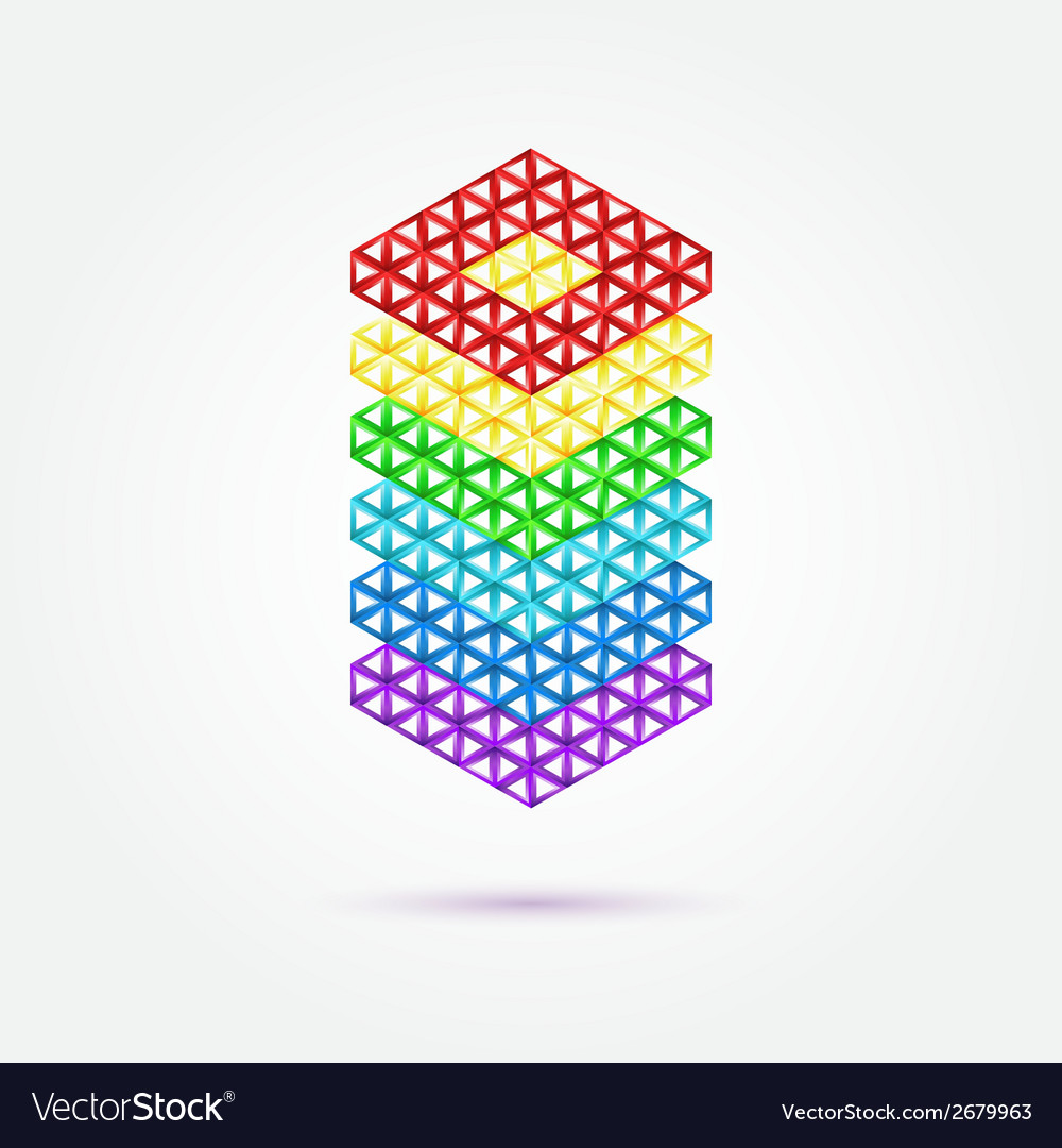 Abstract geometric shape - rainbow icon vector image
