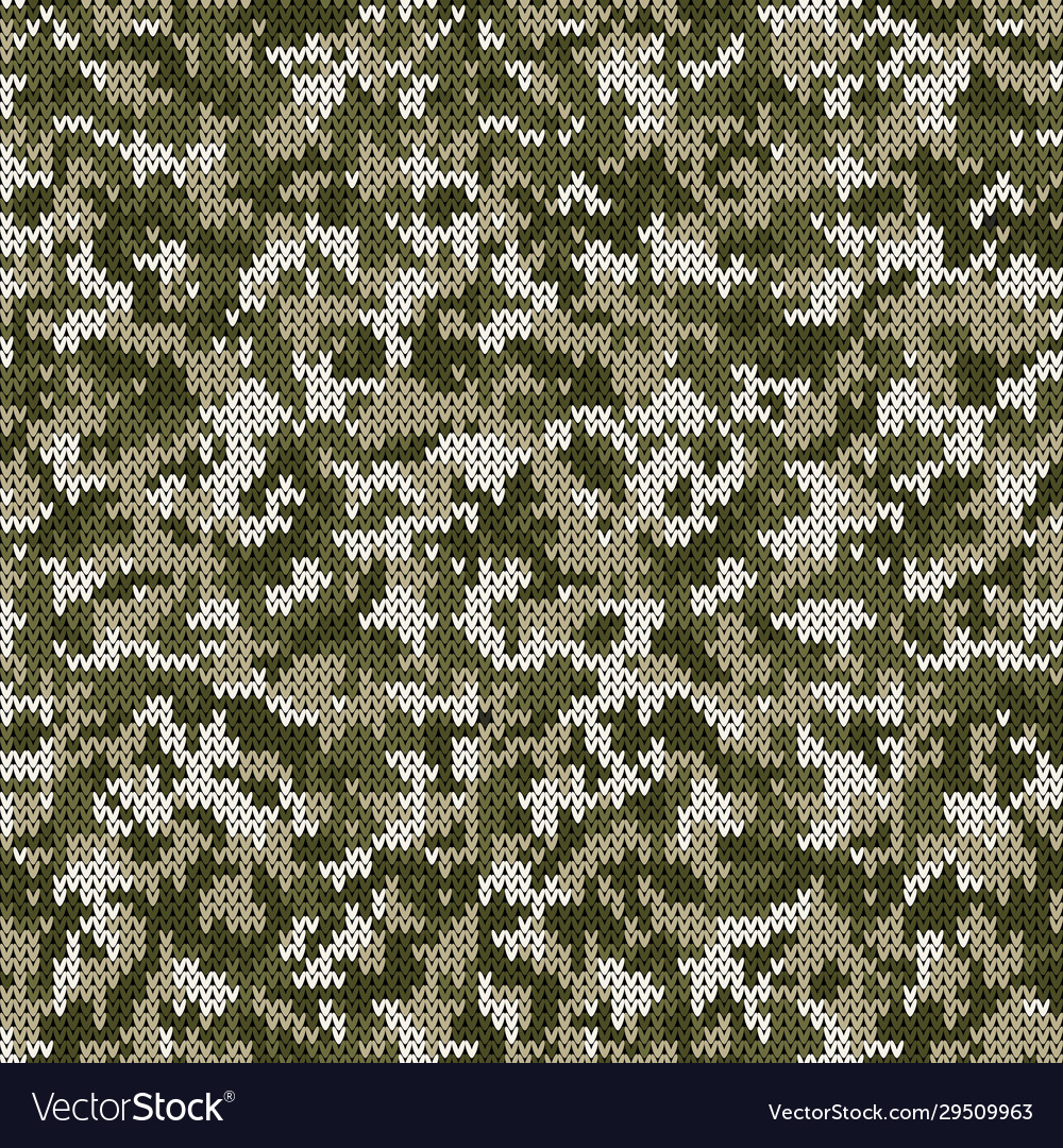 Camouflage style knitted pattern in light green