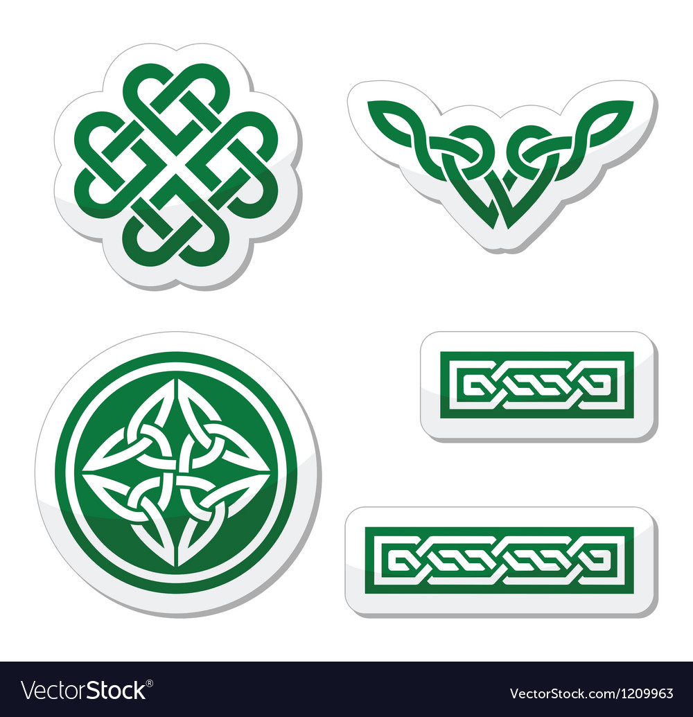 Celtic green knots braids and patterns vector image