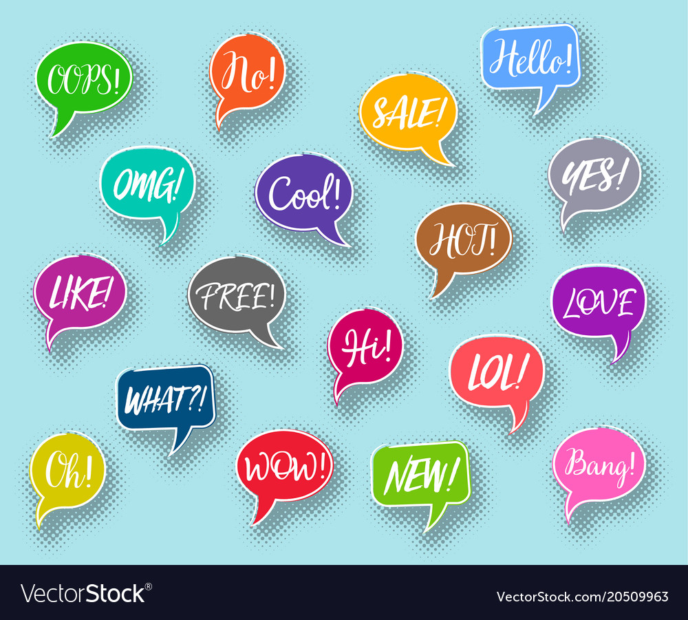 Chat bubbles collection text expressions