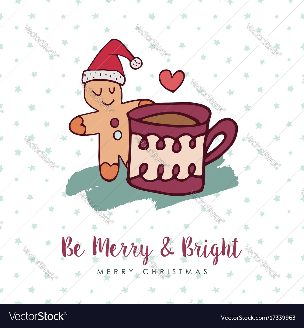 Christmas cute gingerbread man holiday cartoon