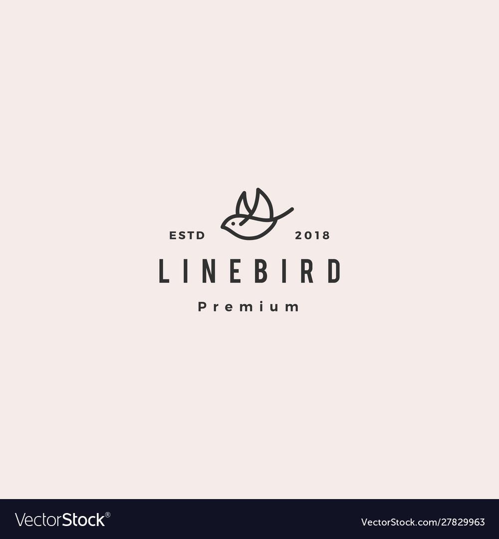 Flying bird logo hipster retro vintage line