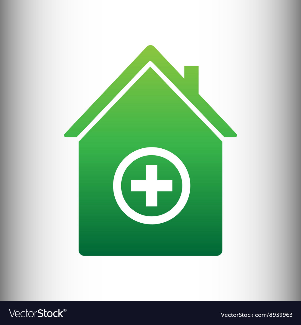Hospital sign Green gradient icon vector image