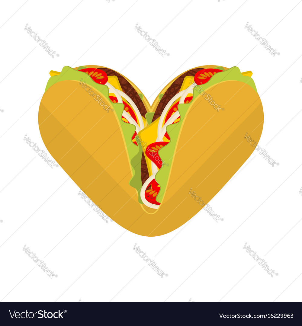 Love tacos symbol lover mexican fast food taco vector image