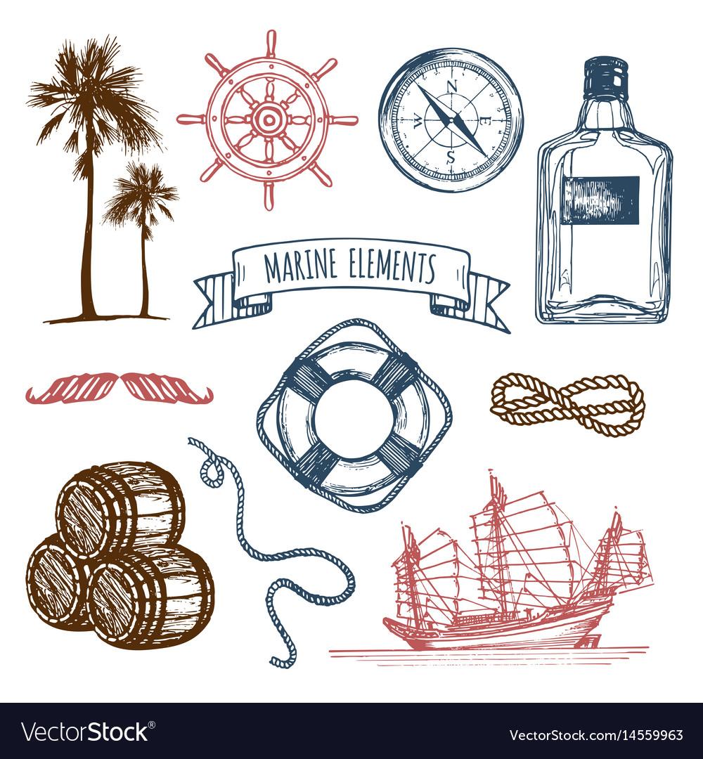 Marine set hand sketched sea