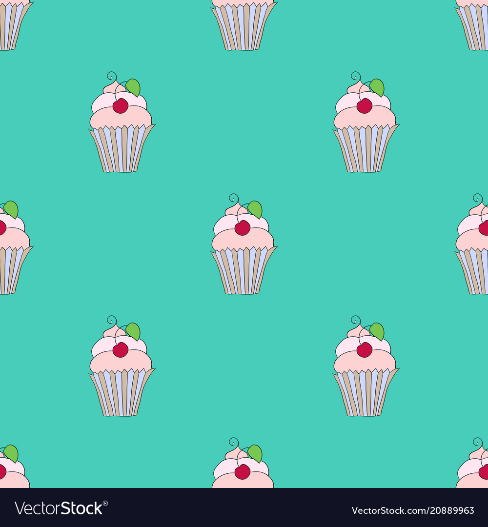 Seamless texture of cupcakes with cherry on