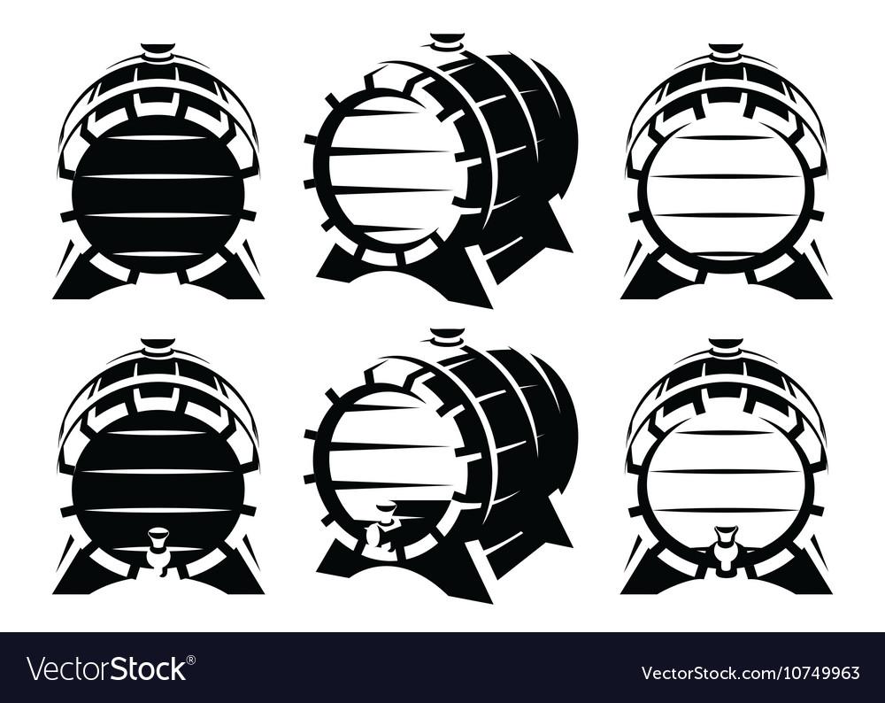 Set of vintage wooden barrels in different