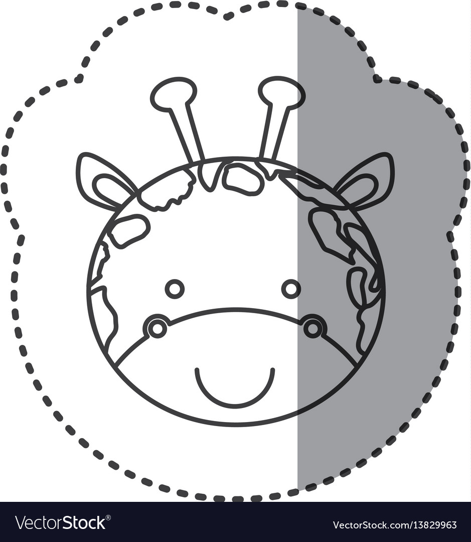 Sticker of grayscale contour with face of giraffe