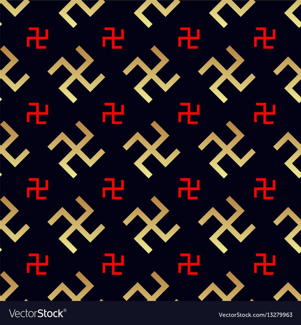 Swastika seamless pattern rotating cross