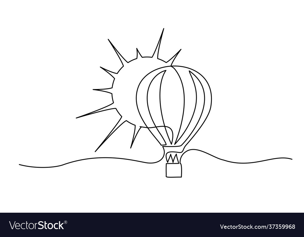 Air balloon with sun symbol happiness travel