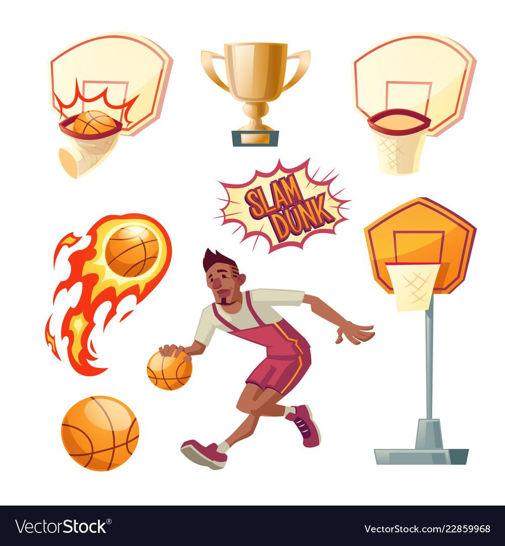 Basketball set - sportsman with ball