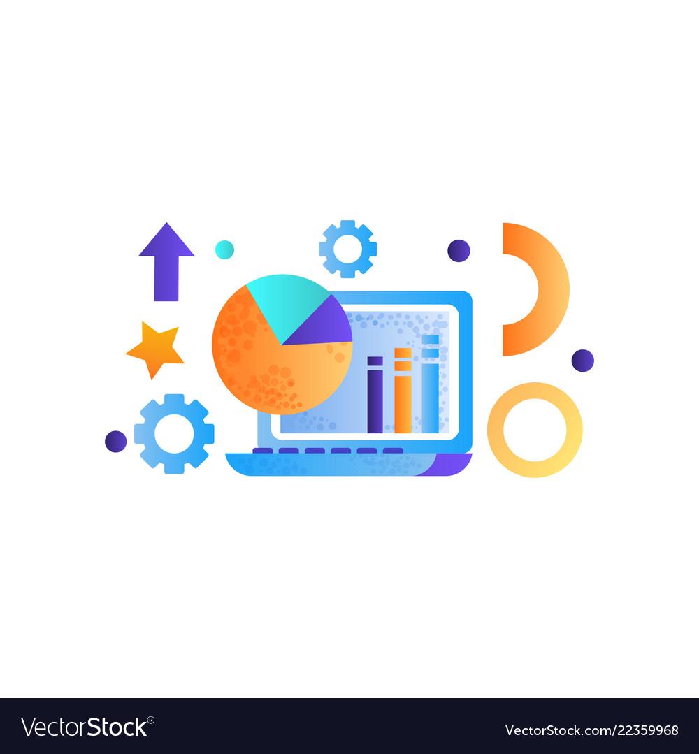Business elements laptop computer data analysis