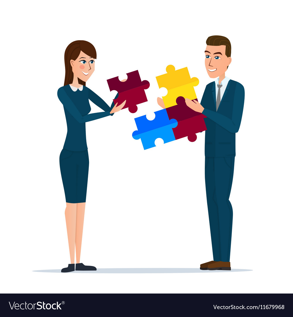 Business man and business woman holding puzzle