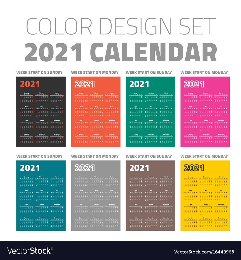 Color pocket calendar set 2021 Royalty Free Vector Image