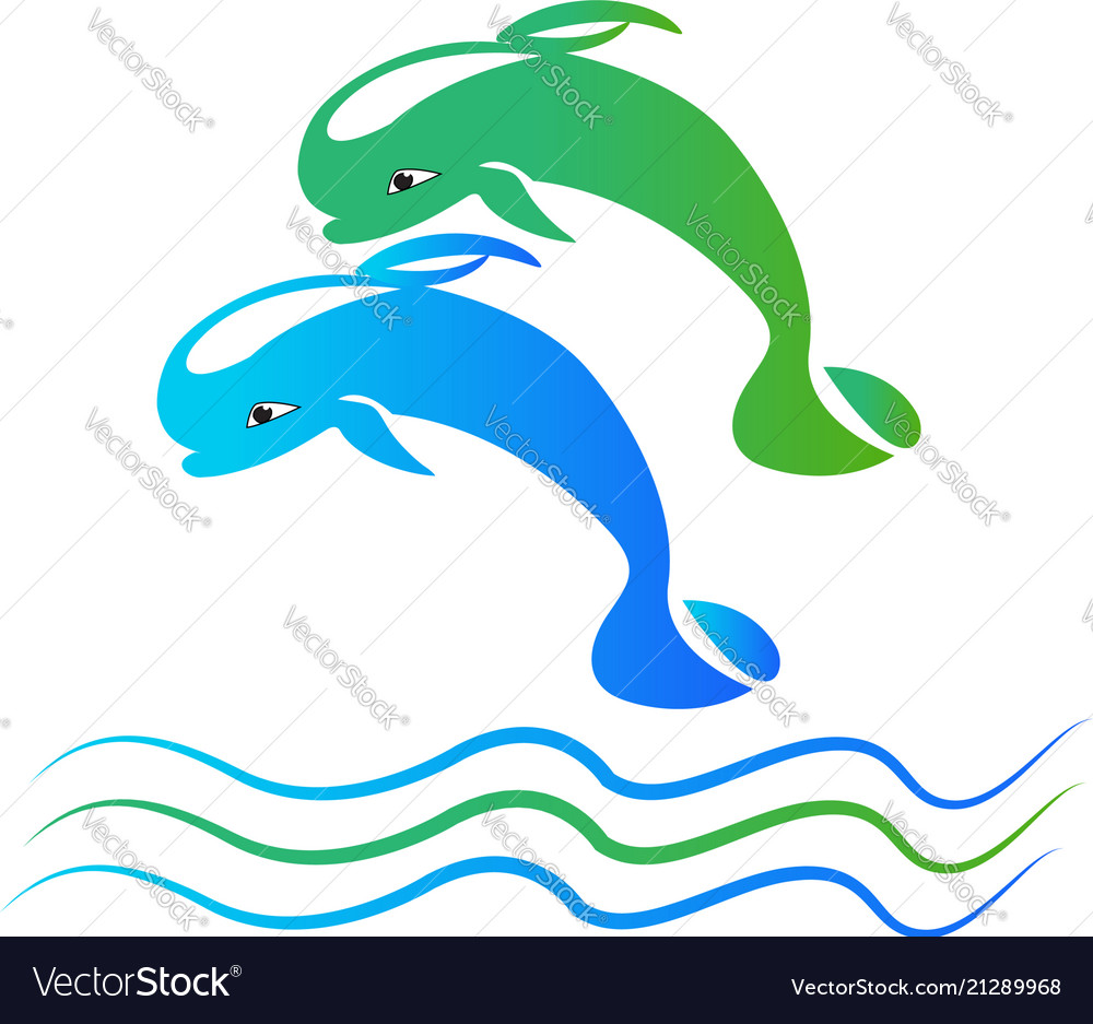 Dolphins water jumping logo icon