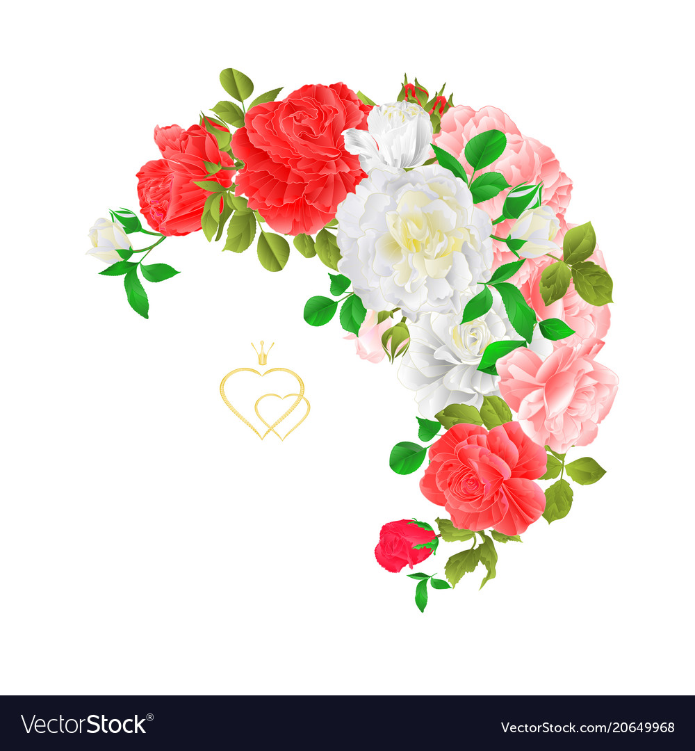 Floral crescent frame with roses and buds