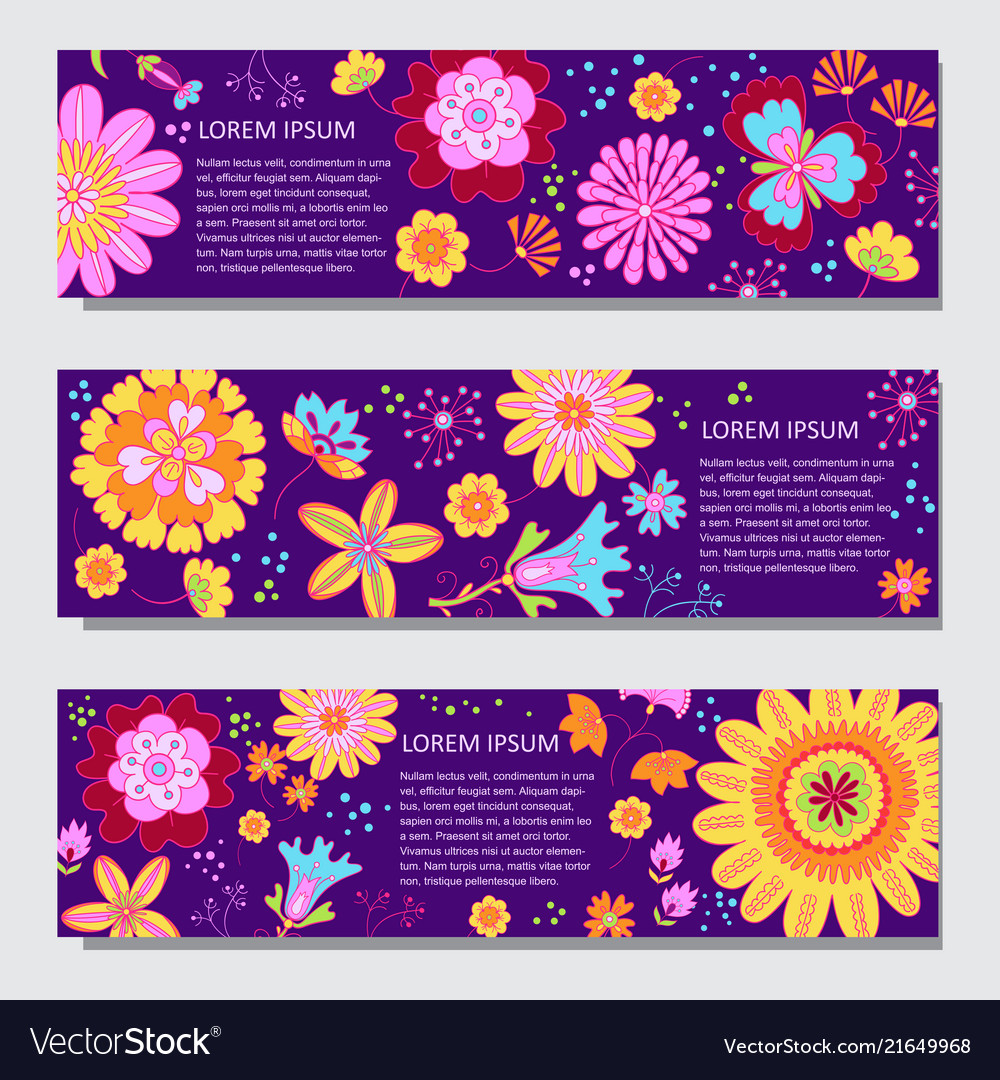 Floral horizontal banner templates in