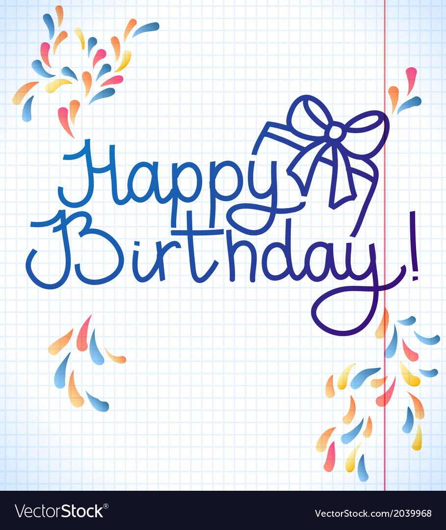 Happy Birthday Card Design School Paper Vector Image