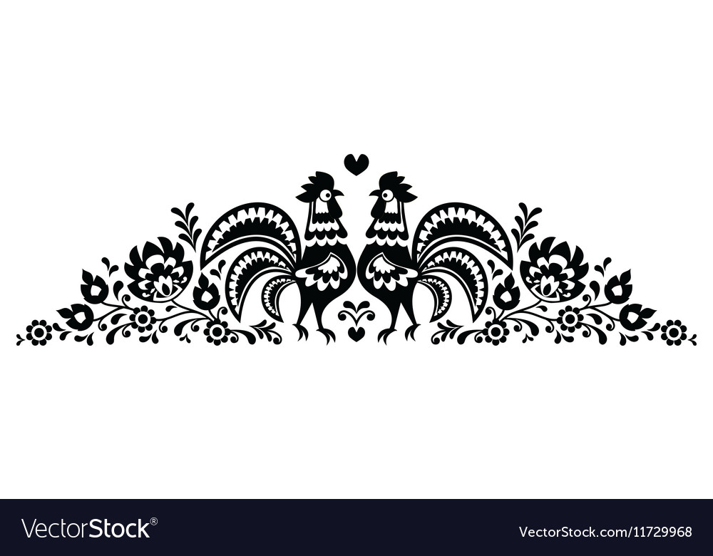 Polish floral folk art long embroidery pattern